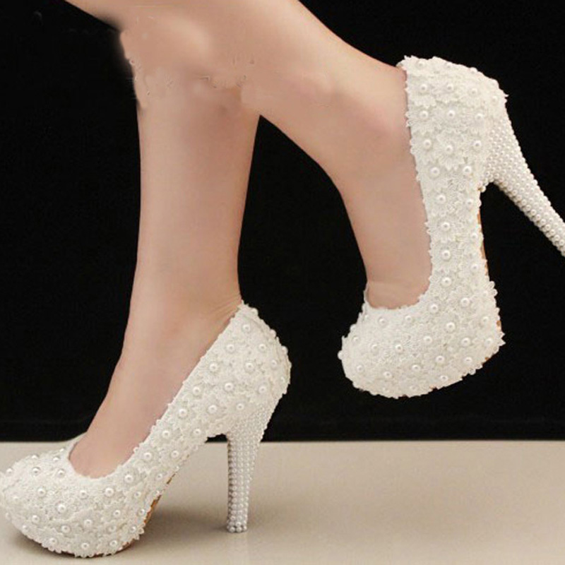 Free Shipping Elegant White Lace Beading Wedding Shoes 4 Inches High Heels Bridal Shoe Bridesmaid Shoes Woman Formal Dress Pumps<br>