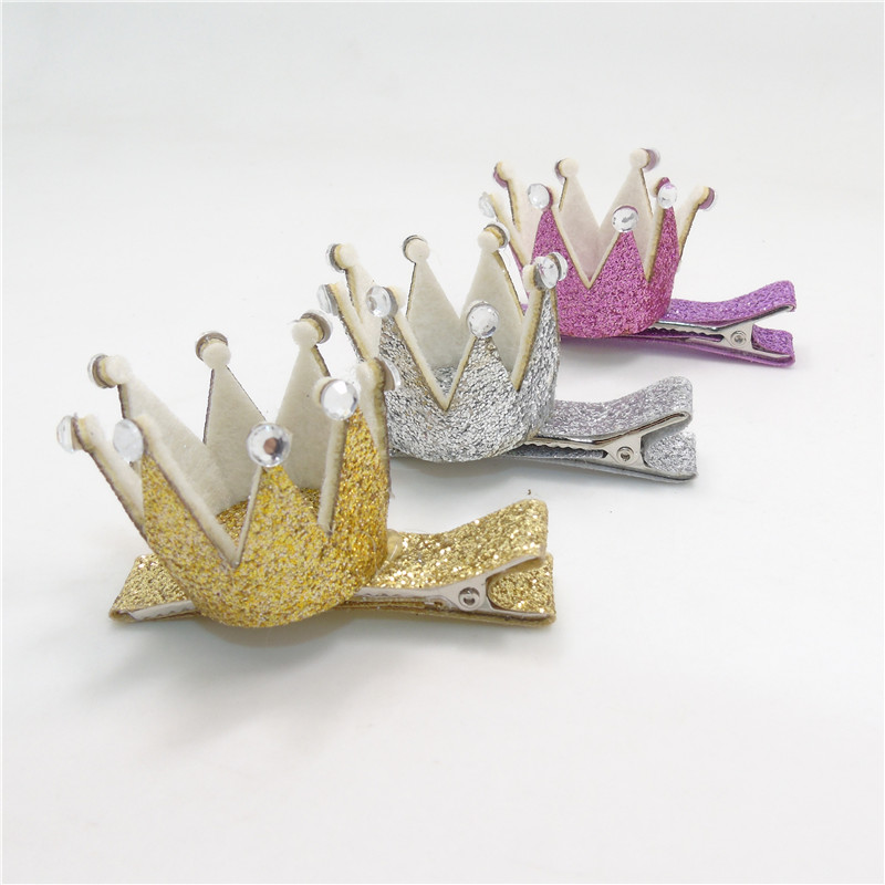 30pcs/lot Glitter Crown Kid Hair Clip with Clear Rhinestone Baby Tiara Mini Hairpin Gold Silver Toddler Small Princess Barrette(China (Mainland))