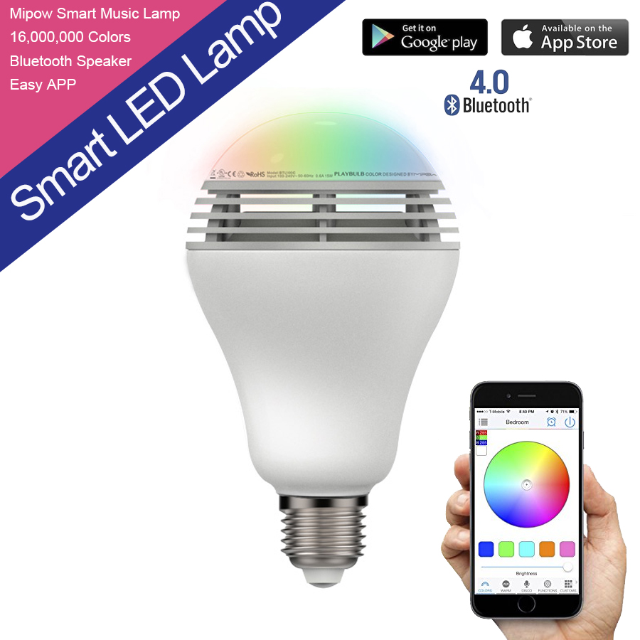 For iPhone 5S/5C/5 For iPad Air BTL 100C 3W E27 Audio Bulb MiPOW PLAYBULB Wireless Bluetooth RGB LED Light Bulb Music Speaker<br><br>Aliexpress