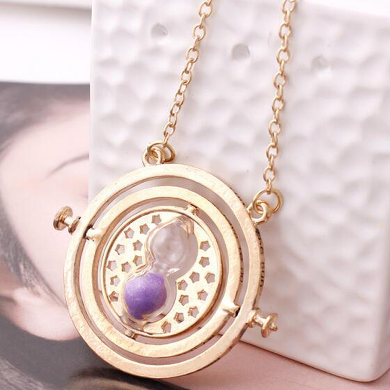 Movie Film 18k gold plated necklace time turner hourglass Converter pendant Hermione Granger Jewelry
