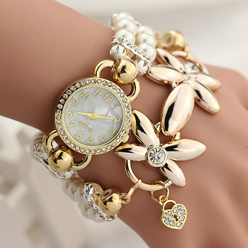 New Fashion Luxury Pearl Bracelet Quartz Watches Women Casual Watch Women Wristwatches Relogio Feminino Reloj Mujer Clock XH0507