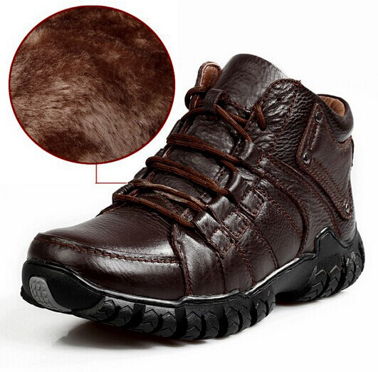 2015 Winter Sneakers New Stylish Men's OutDoor Shoes Lace-Up Warm Plush Fur Boots Cow Leather Waterproof mens boots leather