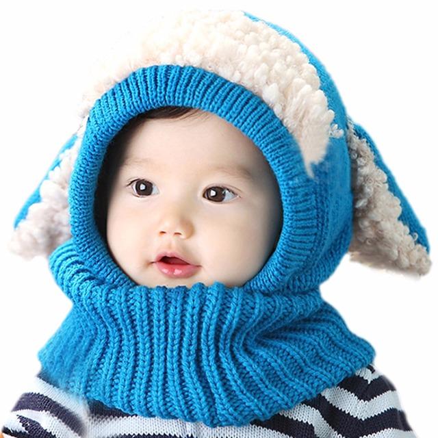 Лучшие продажи Малышей детские Beanies Шляпы Капюшон Капюшон Kintted Шерстяные Шарфы Шапки Зима Теплая Шапка
