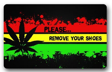 Custom doormat please remove your shoes colorful striped painting leaf in mat from home garden - Remove shoes doormat ...