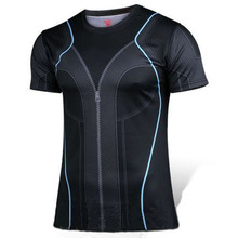 Superhero bodybuilder fashionable collar avengers alliance 2 PE breathable quick dry T-shirt tight short sleeve T-shirt