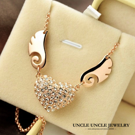 18K Rose Gold Plated Austrian Rhinestones Inlaid Heart Angel Wing Design Lady Pendant Necklace Wholesale(China (Mainland))