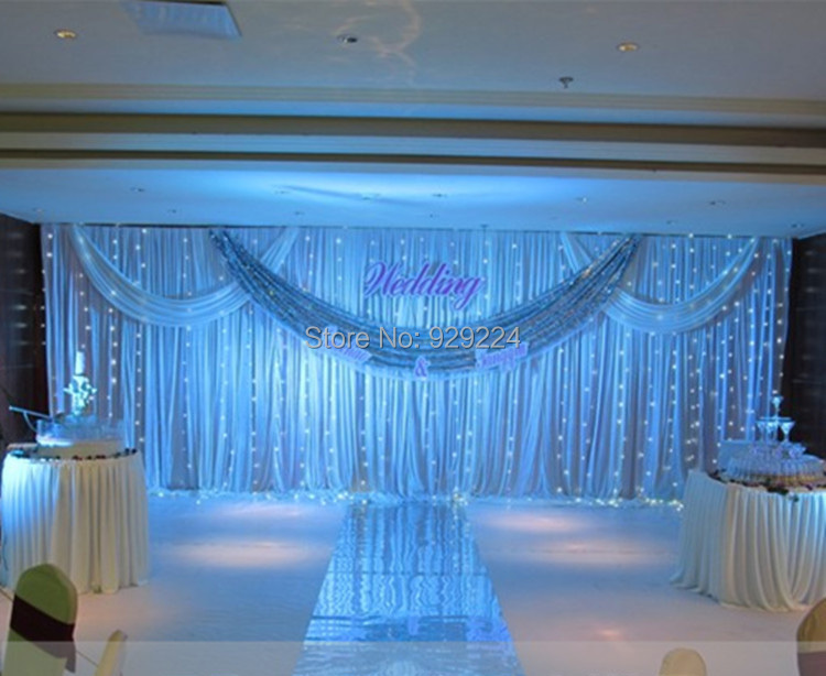 3m 6m wedding stage backdrop with beatiful swag wedding for Background decoration for wedding