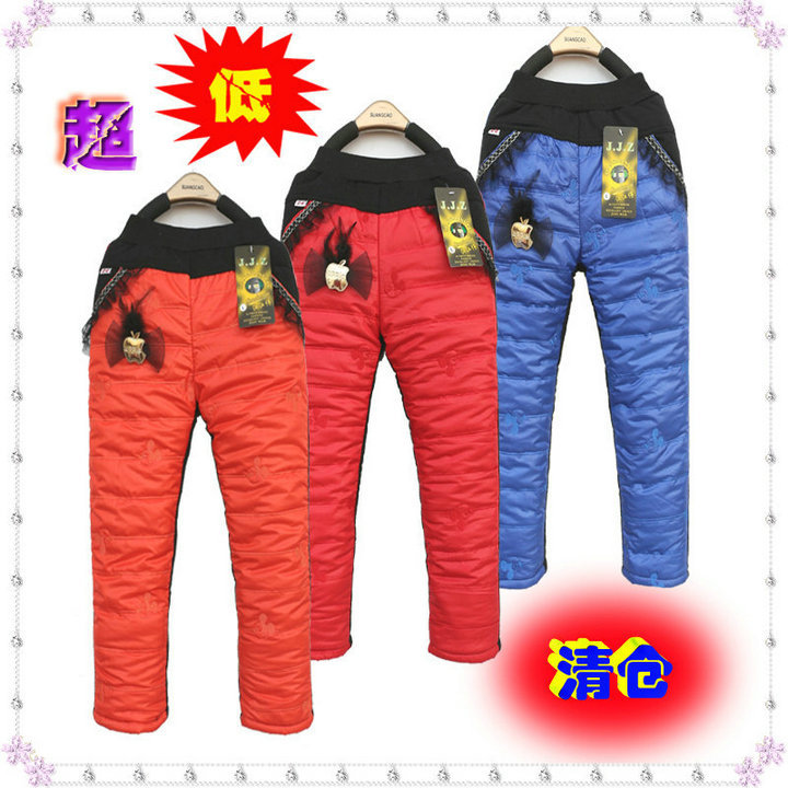 Free shipping new 2014 fashion boys and girls pants Winter thermal down female child casual kids trousers winter children pants(China (Mainland))