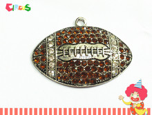 Wholesale 50mm*35mm 10pcs/lot Antique  Silver Plated  Brown Football  Rhinestone pendants(China (Mainland))