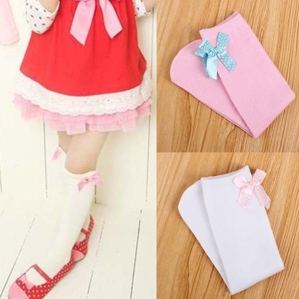 Toddlers Kid Girl Princess Bow knot Knee High Socks Cotton Stockings 3 6Y