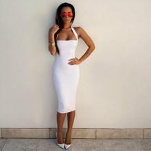 MERSALEE 2018 Женщин Сексуальный Белый Bodycon Бинты Платье Черный Холтер Бретелек Рукавов Клуб Хлопок Бальные Платья(China)