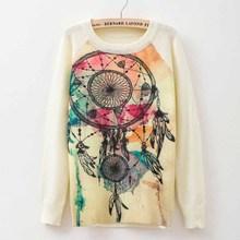 Rose garden owl bird print women sweaters and pullover 2015 Autumn winter Harajuku fashion Brand Knitwear sweater coat Plus Size(China (Mainland))