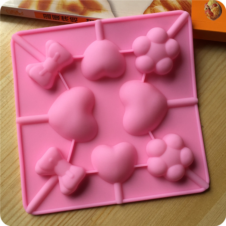 DIY Lollipop Love Heart Shaped Silicone Cake Soap Mold Fondant Cake Pan Mould Chocolate Pastry Cooking Tool(China (Mainland))