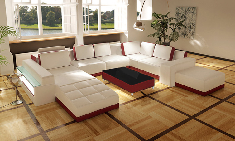 White Red Sectional Living Room Sofa Set Modern Italian Top Grain Leather Fos