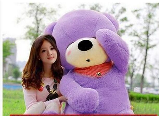 biggest plush purple teddy bear toy huge sleeping bear toy stuffed big teddy bear gift 200cm(China (Mainland))