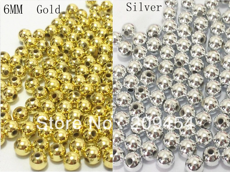 Free shipment ! 6mm 1000pcs/lot silver/Gold Spacer Beads, Spacer acrylic beads For ChunkyJewellery(China (Mainland))