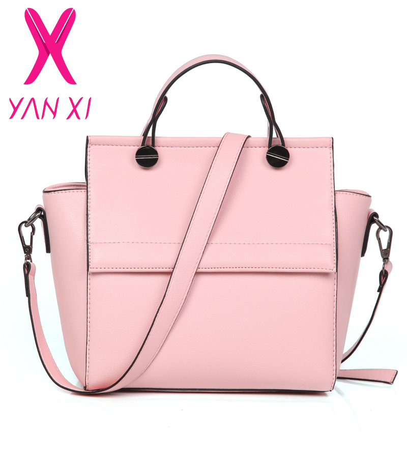 Best selling woman handbag big solid ladies style guaranteed 100% lady bag pu leather shoulder bags Pink tote 2015(China (Mainland))