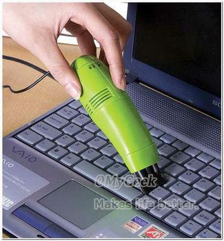 3pcs/lot  Mini USB Vacuum Cleaner for Your Laptop / PC with bristle brush & flexible rubber (4 colors)