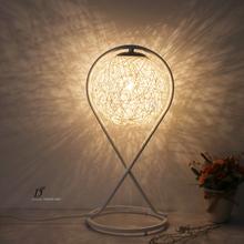The light of art and design of modern minimalist iron hand woven rattan lamp shade room bedroom living room lamp(China (Mainland))