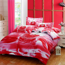 fs-480 red cherry 3d oil painting bedding sets king queen size cotton bedclothes bedsheets duvet quilt cover - satin set store