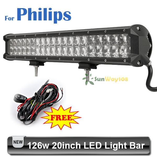 20 inch 126W For Philips LED Light Bar 4D Lens 3w*42 Work Lamp Spot Flood Combo Beam Fit SUV Golf Off Road Vehicle Car(China (Mainland))