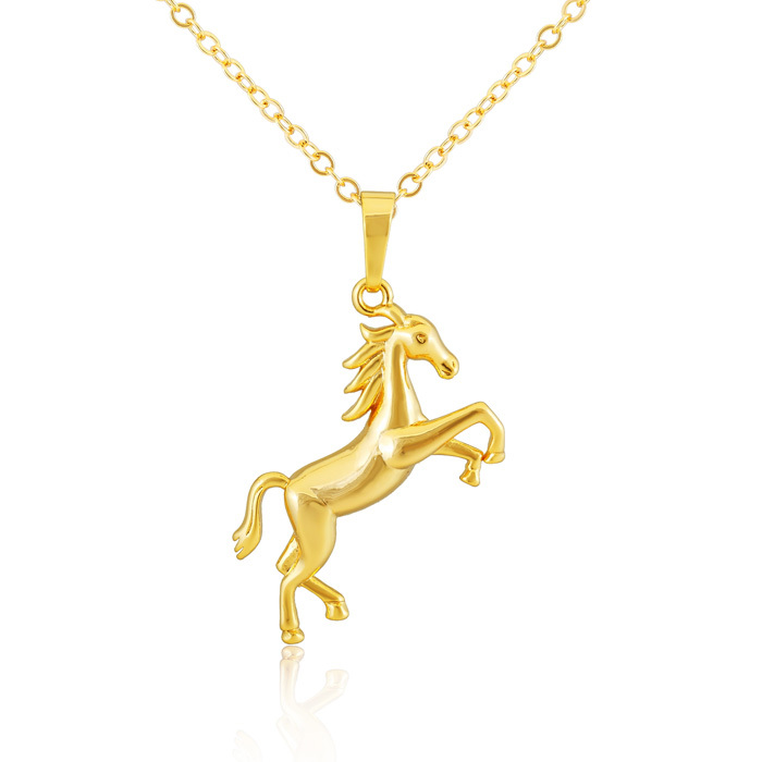 18 k gold plated horse pendant necklace fashion jewelry men/women necklace d0042(China (Mainland))