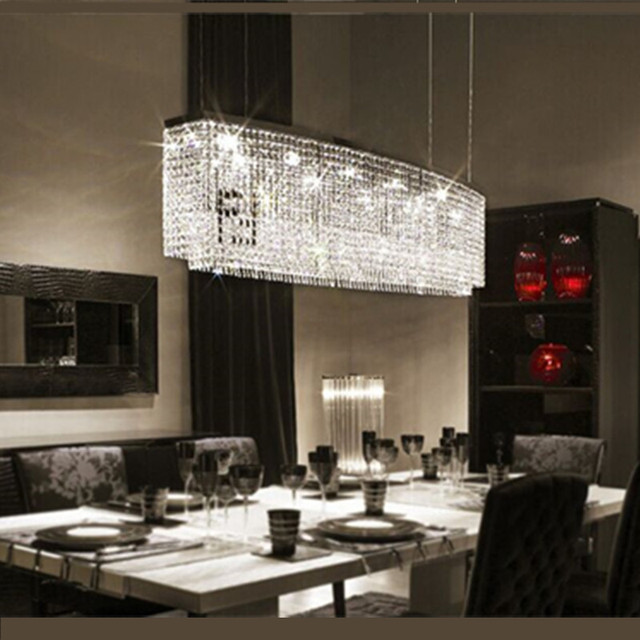 Simple stylish dining room crystal lamp rectangular living for Rectangular dining room light