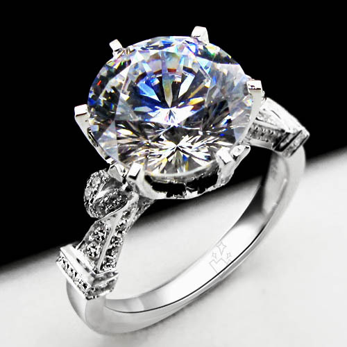 Genuine 18K White Gold Florid 2Ct Lab Grown Synthetic Diamond Ring Gift for girl Ideal Promise Ring Engagement Bridal Jewelry(China (Mainland))