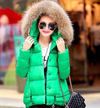 Пальто женщин хлопка вниз парки с роскошной большой меховой воротник капюшон толстый слой пиджаки 6 цветов 2015 новых зимних плюс м-3xl