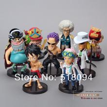 Anime One Piece WCF Luffy Koby Zephyr Warring.States.Buddha Q Version Mini PVC Action Figures Toys Dolls 8pcs/set OPFG313