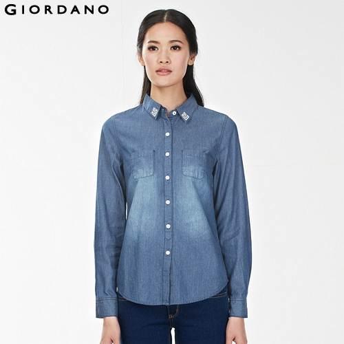 Женские блузки и Рубашки Giordano 2015 Blusas Camisas Femininas 100%