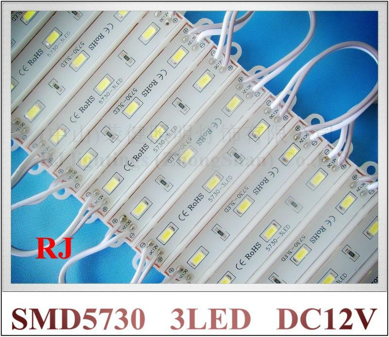 LED module wholesale 1000pcs X Epoxy waterproof LED module 5730 LED back lighting for sign 3*SMD5730 1W 100lm IP66 75mm*12mm CE(China (Mainland))