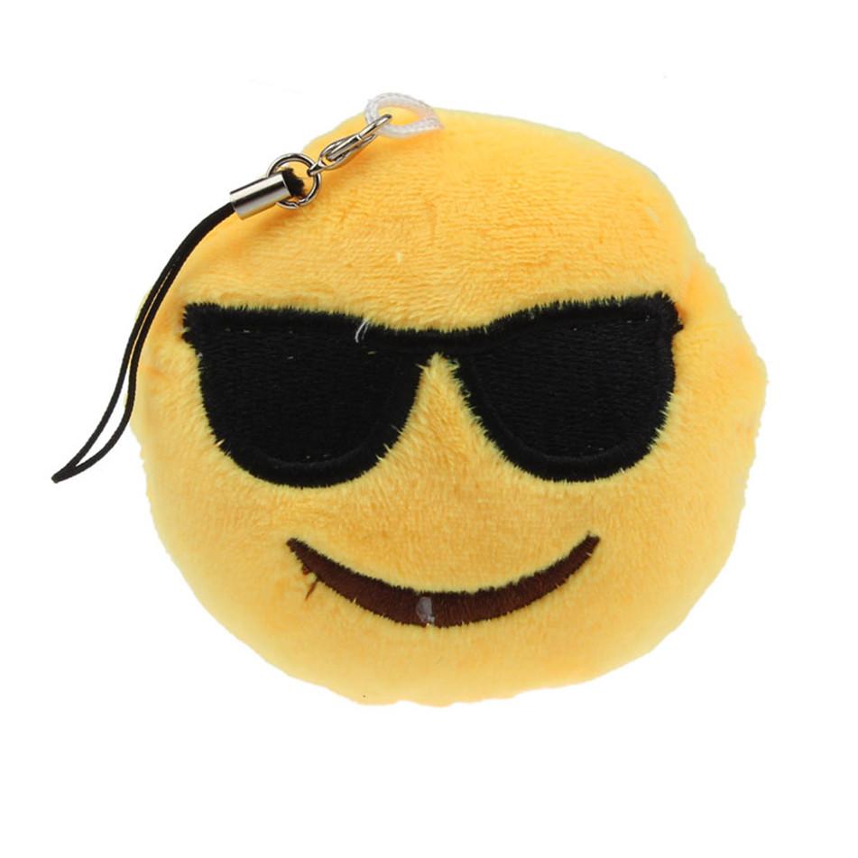 Vehicle 2016 Cute Emoji Smiley Emoticon Sunglass Key Chain Soft Toy Gift Pendant Bag Car Accessory(China (Mainland))