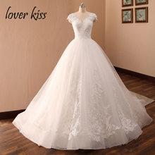 Свадебное бальное платье Lover Kiss, свадебное платье 2020, кружевное платье принцессы с рукавами-крылышками и бусинами, Vestido De Noiva Robes Mariage(China)