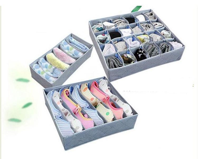 3pc/set Fashion bamboo charcoal Folding Storage Box Home Storage Bins Grid Pattern for Bra Underwear Necktie Sock Organizer #A3(China (Mainland))