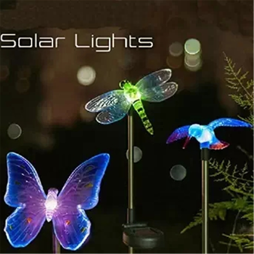 3 pcs solar powered garden yard stake color changing led
