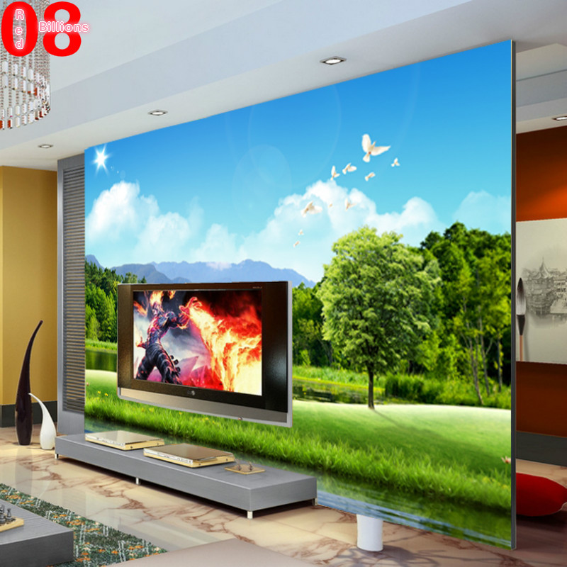 large mural tv sofa background wall decorative pastoral scenery painting photo wallpaper wall. Black Bedroom Furniture Sets. Home Design Ideas