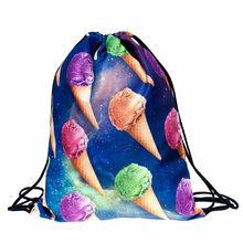 ISHOWTIENDA рюкзак на шнурке забавные мешки с Кулиской унисекс 3D сумка со стягивающим шнурком и напечатанным текстом logotipo personalizado(China)