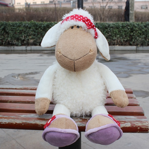 lovely red bowknot scarf white sheep stuffed animals soft toys baby dolls 25 CM n115(China (Mainland))