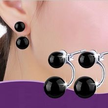 Red Black White Double Imitation Pearls Style Stud Earring for Girl Women 2016 Wedding Dubbel Oorbellen Wholesale Uaib WH100(China (Mainland))