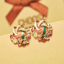 2015 New Korean Upscale Jewelry Wholesale Fashion Elegant Temperament Distorted Color Rhinestone Stud Earrings for Women(China (Mainland))