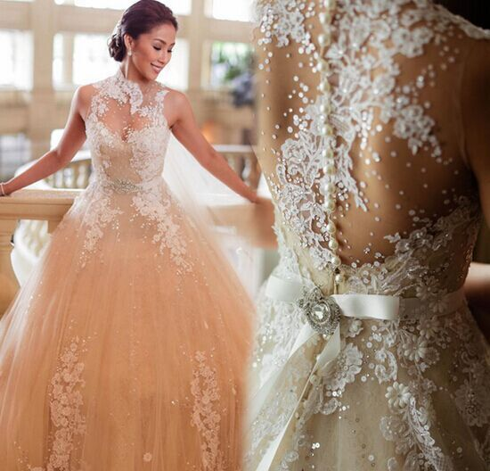 2015 Sexy Luxury Wedding Dresses Ball Gown High Neck Backless See Through Applique Beaded Sash Sheer Bridal Gowns Church Wedding(China (Mainland))