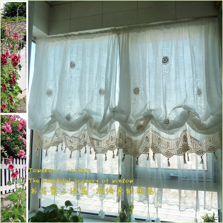 Pastoral style adjustable balloon curtain living room shade white window treatment curtains for Balloon curtains for living room