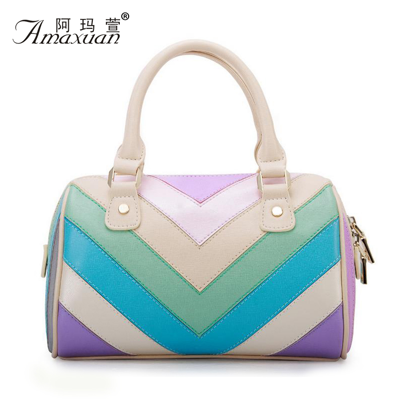 PU leather women Tote. brand handbags Benluna  European and American style fashion crossbody bag personality rainbow bag BH1073<br><br>Aliexpress