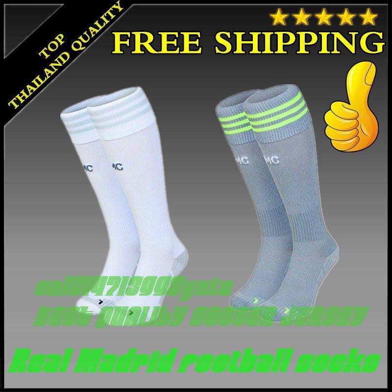 2015 2016 Thai quality what club socks real Madrid home White away gray soccer socks Real Madrid football socks(China (Mainland))