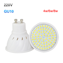 1Pcs GU10 Led Spotlight Bulb AC 220V 4W 6W 8W Led Lamp Ultra bright lampada led white/warm white/cold white led bulbs lighting(China (Mainland))