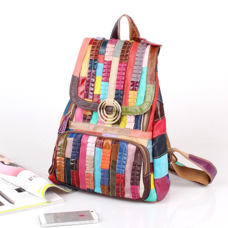 UniCalling Denim &amp; Genuine Leather handbagSheepskin leather bag broken skin fold colorful stripes personalized bag stitching cas<br><br>Aliexpress