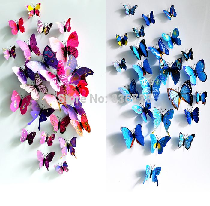 12pcs/lot Modern Home Decor Three-dimensional 3D Wall Stickers Butterfly Showcase Window Sticker Living Room Curtain Accessories(China (Mainland))