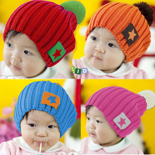 Fashion Candy-Color Winter Knitted Hat  Five-Star Labeling  Children'S Hat Wool Hat Baby Hat,4 Colors Baby Cap,Free Shipping!