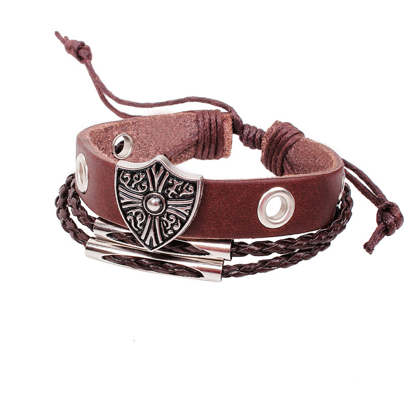 New 2015 Multilayer Leather Bracelets,3 Vintage style,Roman cross,flowers, coin,lovers bracelet,fashion jewelry wholesale QN016(China (Mainland))
